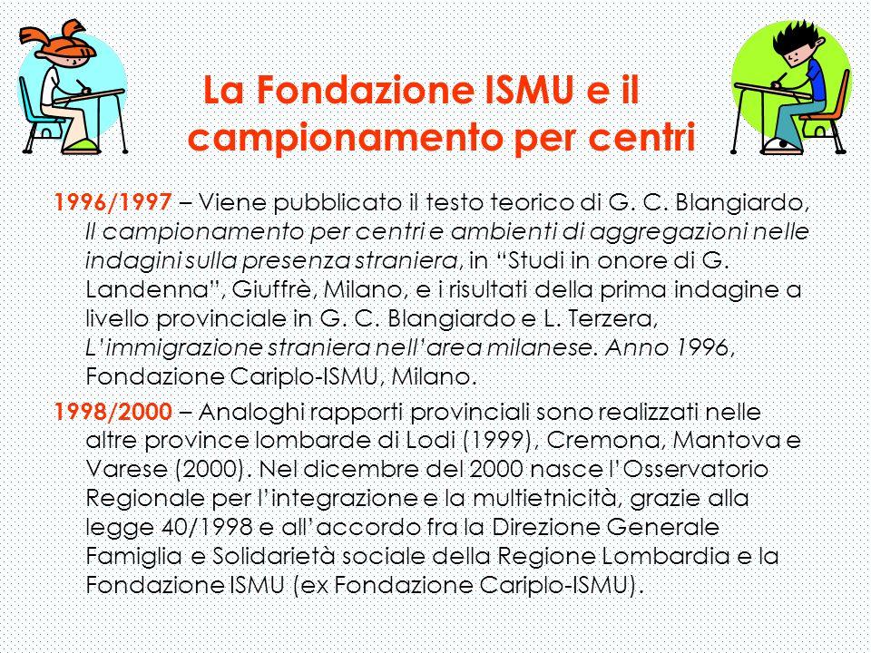 1996/1997 – Viene pubblicato il testo teorico di G. C. Blangiardo, Il campionamento per centri e ambienti di aggregazioni nelle indagini sulla presenz