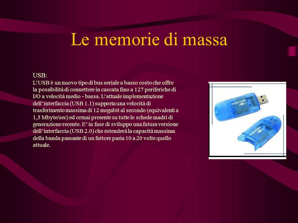 Le memorie di massa USB: LUSB è un nuovo tipo di bus seriale a basso costo che offre la possibilità di connettere in cascata fino a 127 periferiche di I/O a velocità medio - bassa.