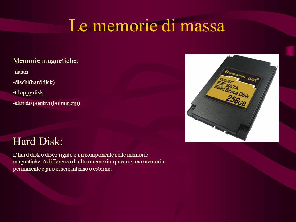 Le memorie di massa Memorie magnetiche: -nastri -dischi(hard disk) -Floppy disk -altri dispositivi (bobine,zip) Hard Disk: Lhard disk o disco rigido e un componente delle memorie magnetiche.