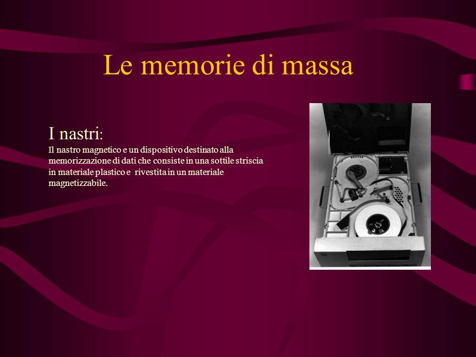 Le memorie di massa I nastri : Il nastro magnetico e un dispositivo destinato alla memorizzazione di dati che consiste in una sottile striscia in materiale plastico e rivestita in un materiale magnetizzabile.