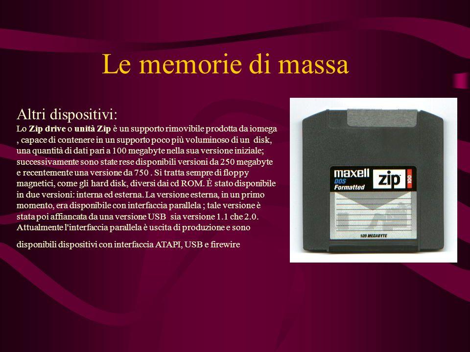 Le memorie di massa Altri dispositivi: Lo Zip drive o unità Zip è un supporto rimovibile prodotta da iomega, capace di contenere in un supporto poco più voluminoso di un disk, una quantità di dati pari a 100 megabyte nella sua versione iniziale; successivamente sono state rese disponibili versioni da 250 megabyte e recentemente una versione da 750.