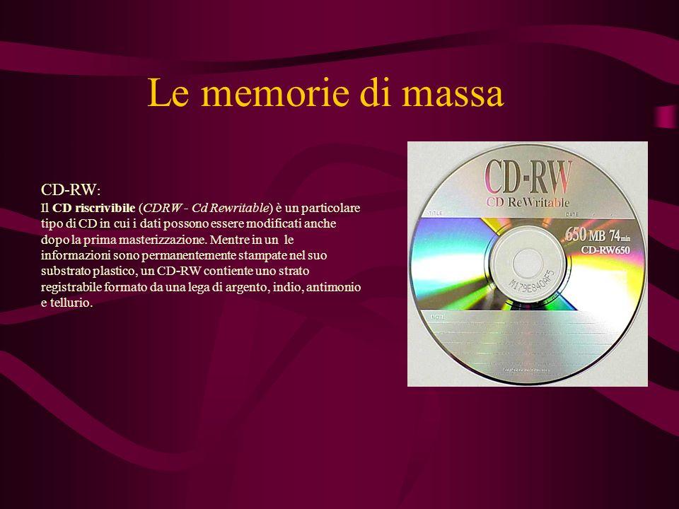 Le memorie di massa DVD: Il DVD, Digital Versatile Disc è un supporto di memorizzazione che ha l aspetto e le dimensioni di un CD-ROM, ma una capacità molto superiore.