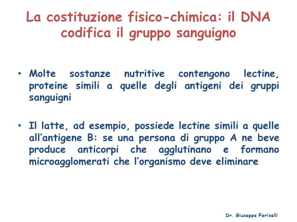 La costituzione fisico-chimica: il DNA codifica il gruppo sanguigno Molte sostanze nutritive contengono lectine, proteine simili a quelle degli antige