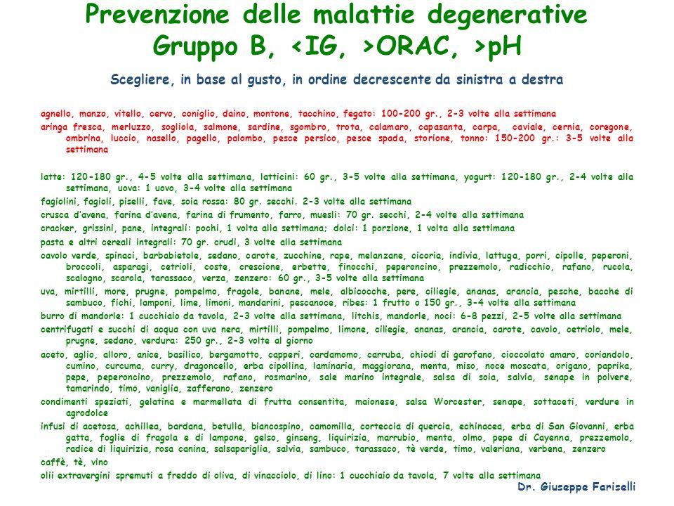 Prevenzione delle malattie degenerative Gruppo B, ORAC, >pH Scegliere, in base al gusto, in ordine decrescente da sinistra a destra agnello, manzo, vi