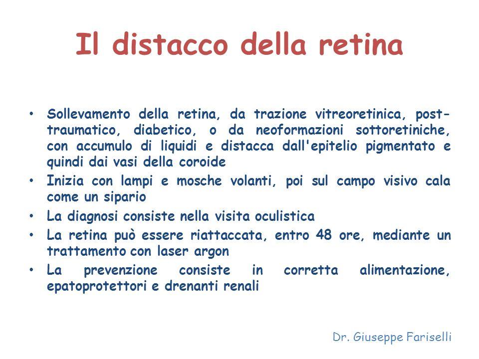 Il distacco della retina Sollevamento della retina, da trazione vitreoretinica, post- traumatico, diabetico, o da neoformazioni sottoretiniche, con ac