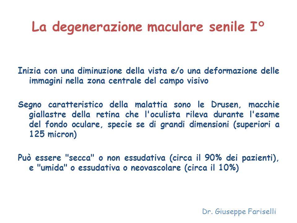 La degenerazione maculare senile I° Inizia con una diminuzione della vista e/o una deformazione delle immagini nella zona centrale del campo visivo Se