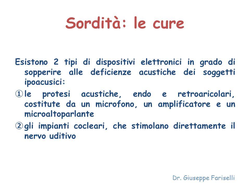 Sordità: le cure Esistono 2 tipi di dispositivi elettronici in grado di sopperire alle deficienze acustiche dei soggetti ipoacusici: le protesi acusti