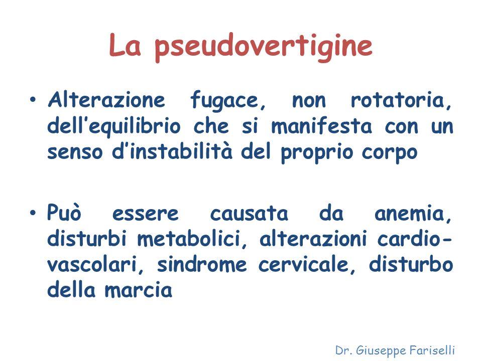 La pseudovertigine Alterazione fugace, non rotatoria, dellequilibrio che si manifesta con un senso dinstabilità del proprio corpo Può essere causata d
