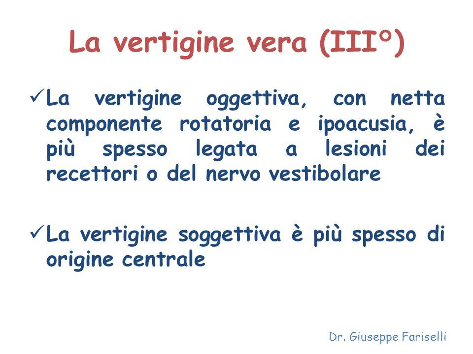 La vertigine vera (III°) La vertigine oggettiva, con netta componente rotatoria e ipoacusia, è più spesso legata a lesioni dei recettori o del nervo v