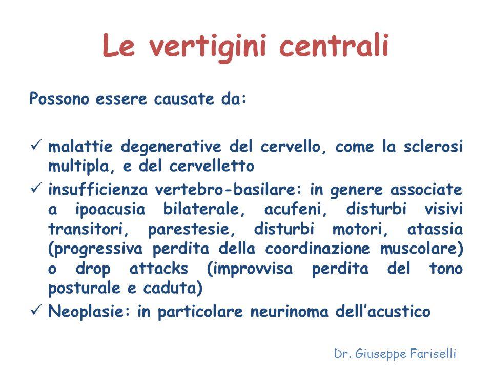 Le vertigini centrali Possono essere causate da: malattie degenerative del cervello, come la sclerosi multipla, e del cervelletto insufficienza verteb