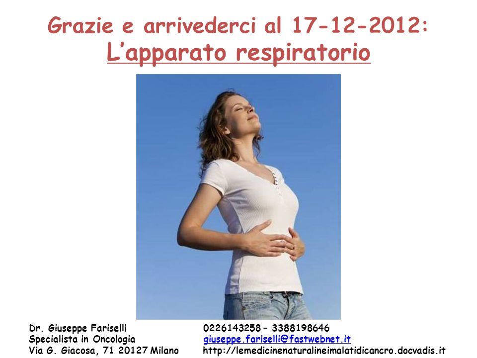 Grazie e arrivederci al 17-12-2012: Lapparato respiratorio Dr. Giuseppe Fariselli 0226143258 – 3388198646 Specialista in Oncologia giuseppe.fariselli@