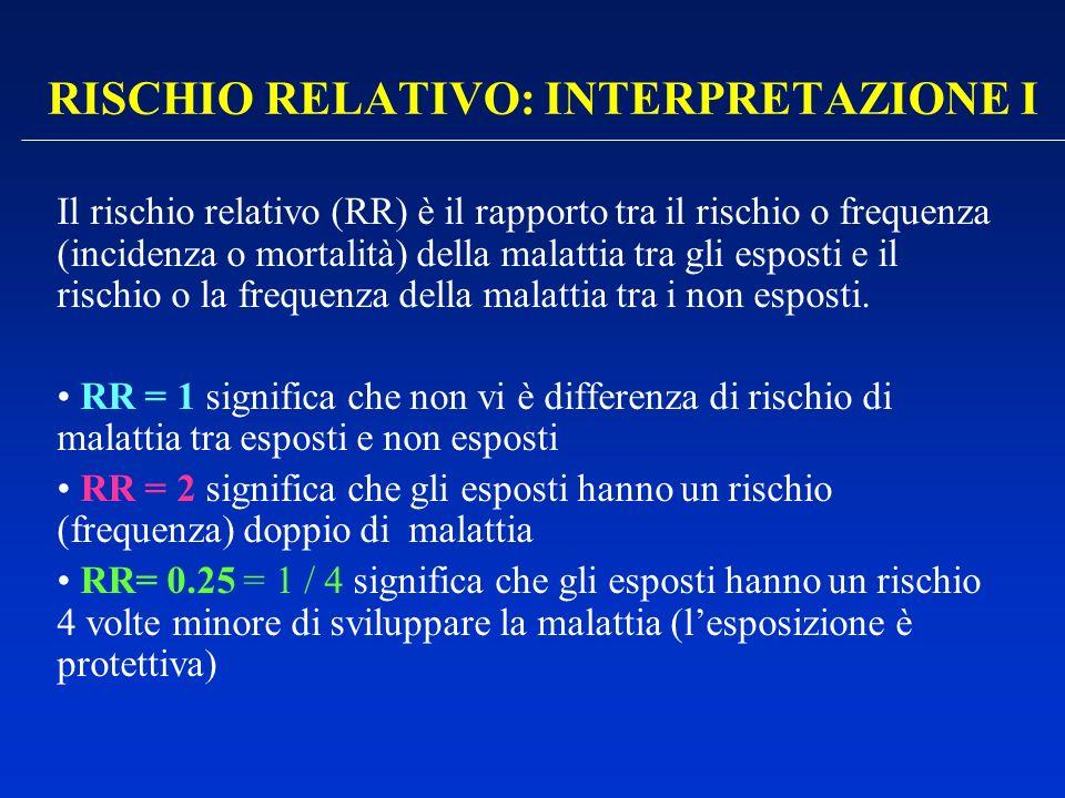 RISCHIO RELATIVO: INTERPRETAZIONE I Il rischio relativo (RR) è il rapporto tra il rischio o frequenza (incidenza o mortalità) della malattia tra gli e