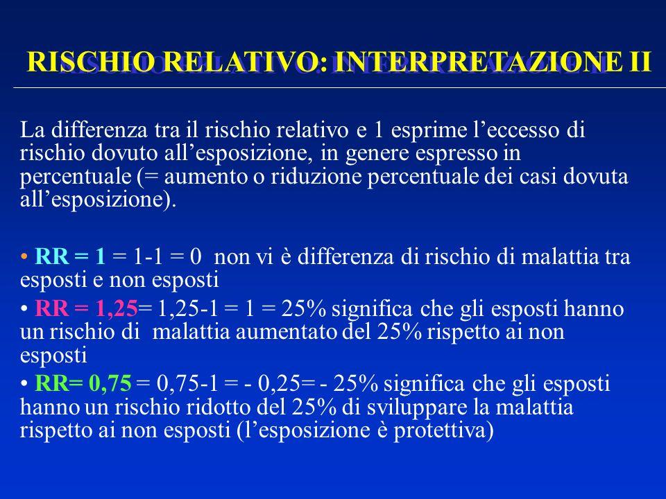 RISCHIO RELATIVO: INTERPRETAZIONE II La differenza tra il rischio relativo e 1 esprime leccesso di rischio dovuto allesposizione, in genere espresso i