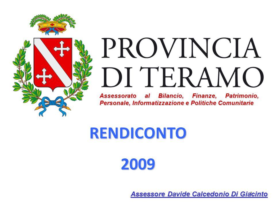 1 RENDICONTO2009 Assessorato al Bilancio, Finanze, Patrimonio, Personale, Informatizzazione e Politiche Comunitarie Assessore Davide Calcedonio Di Giacinto