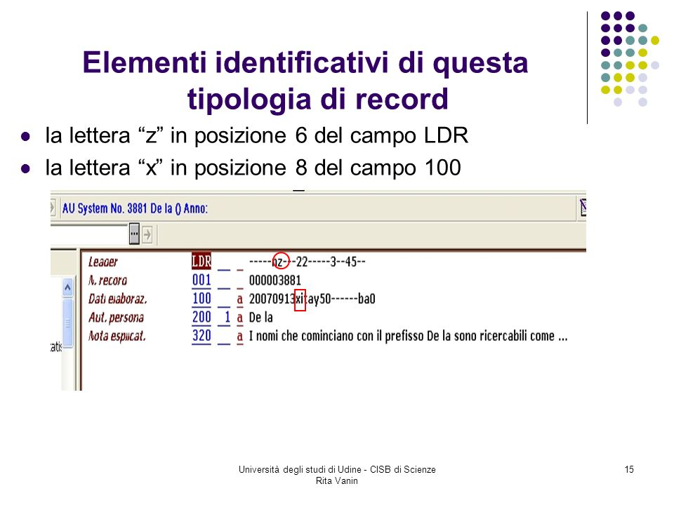 Università degli studi di Udine - CISB di Scienze Rita Vanin 15 Elementi identificativi di questa tipologia di record la lettera z in posizione 6 del campo LDR la lettera x in posizione 8 del campo 100