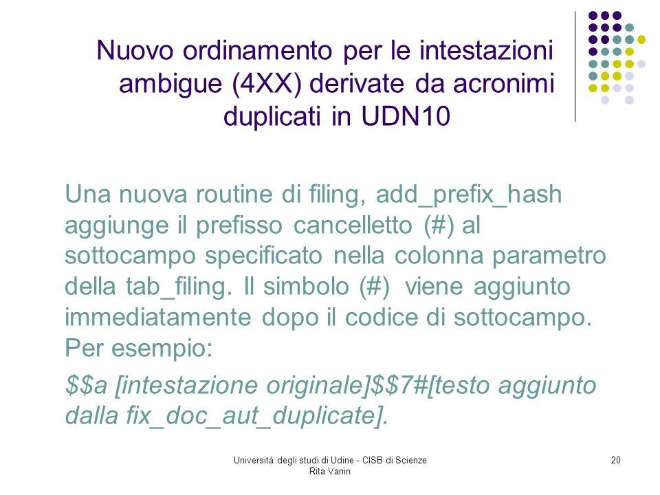 Università degli studi di Udine - CISB di Scienze Rita Vanin 20 Nuovo ordinamento per le intestazioni ambigue (4XX) derivate da acronimi duplicati in UDN10 Una nuova routine di filing, add_prefix_hash aggiunge il prefisso cancelletto (#) al sottocampo specificato nella colonna parametro della tab_filing.