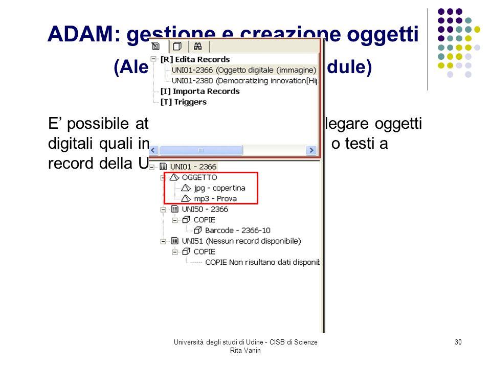 Università degli studi di Udine - CISB di Scienze Rita Vanin 30 ADAM: gestione e creazione oggetti (Aleph Digital Asset Module) E possibile attraverso questo modulo legare oggetti digitali quali immagini, file audio, video o testi a record della UDN01.