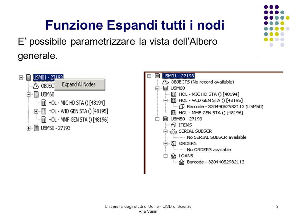 9 Funzione Espandi tutti i nodi E possibile parametrizzare la vista dellAlbero generale.