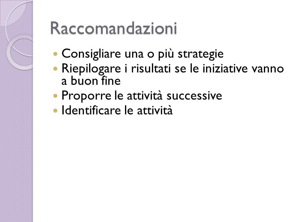 Raccomandazioni Consigliare una o più strategie Riepilogare i risultati se le iniziative vanno a buon fine Proporre le attività successive Identificare le attività