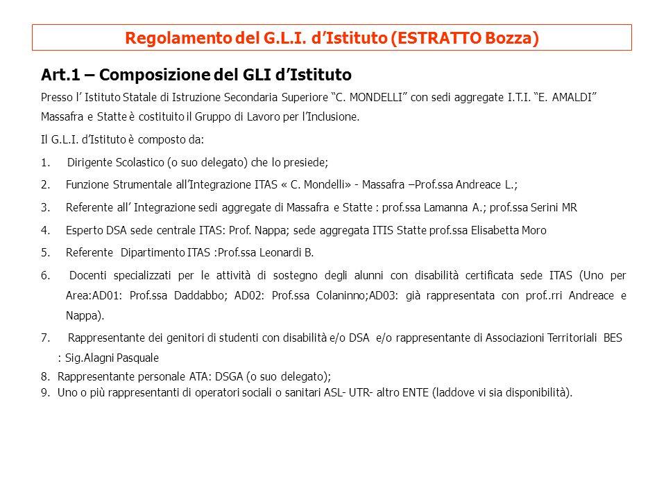 Art.2 – Convocazione e Riunioni del G.L.I.