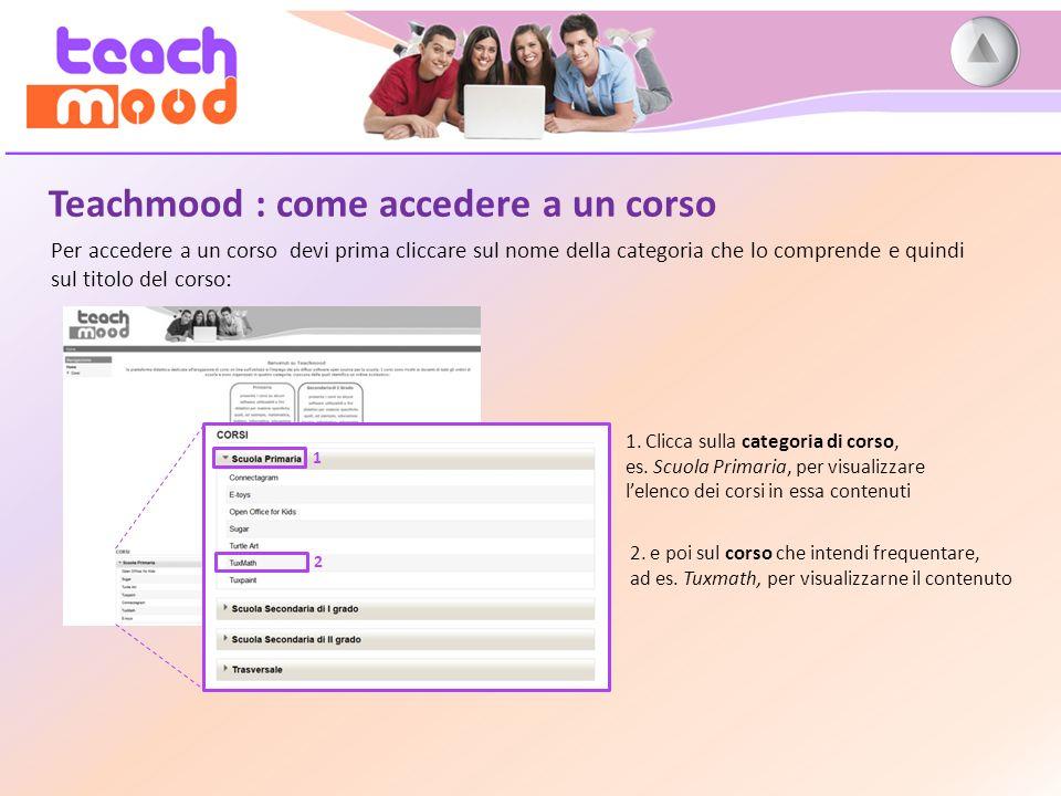 Teachmood : come accedere a un corso Per accedere a un corso devi prima cliccare sul nome della categoria che lo comprende e quindi sul titolo del corso: 1.