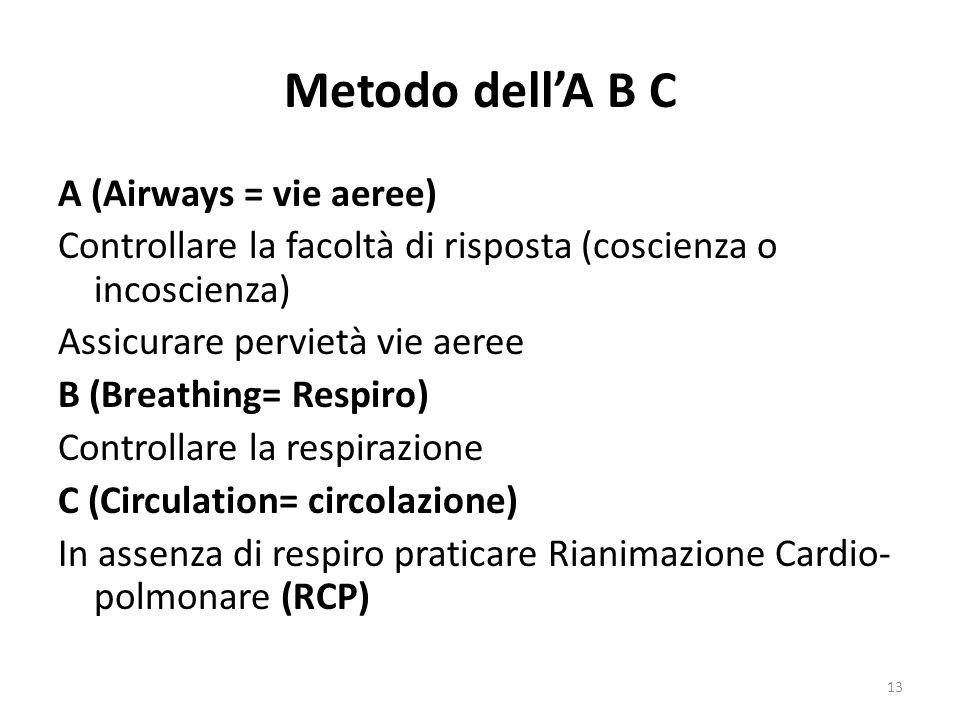Metodo dellA B C A (Airways = vie aeree) Controllare la facoltà di risposta (coscienza o incoscienza) Assicurare pervietà vie aeree B (Breathing= Respiro) Controllare la respirazione C (Circulation= circolazione) In assenza di respiro praticare Rianimazione Cardio- polmonare (RCP) 13
