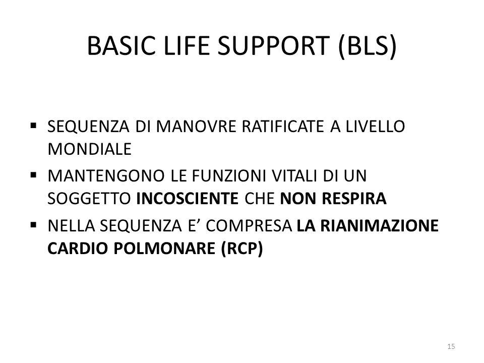 BASIC LIFE SUPPORT (BLS) SEQUENZA DI MANOVRE RATIFICATE A LIVELLO MONDIALE MANTENGONO LE FUNZIONI VITALI DI UN SOGGETTO INCOSCIENTE CHE NON RESPIRA NELLA SEQUENZA E COMPRESA LA RIANIMAZIONE CARDIO POLMONARE (RCP) 15
