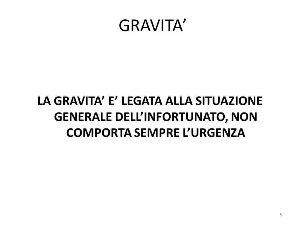 GRAVITA LA GRAVITA E LEGATA ALLA SITUAZIONE GENERALE DELLINFORTUNATO, NON COMPORTA SEMPRE LURGENZA 5