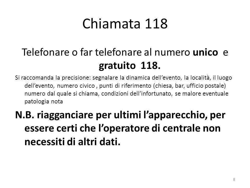 Chiamata 118 Telefonare o far telefonare al numero unico e gratuito 118.