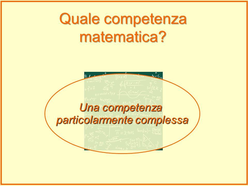 Una competenza particolarmente complessa Quale competenza matematica?