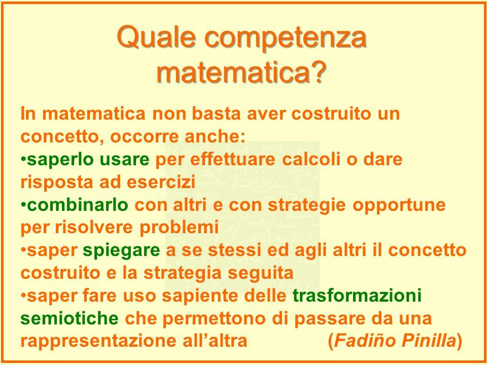 In matematica non basta aver costruito un concetto, occorre anche: saperlo usare per effettuare calcoli o dare risposta ad esercizi combinarlo con alt