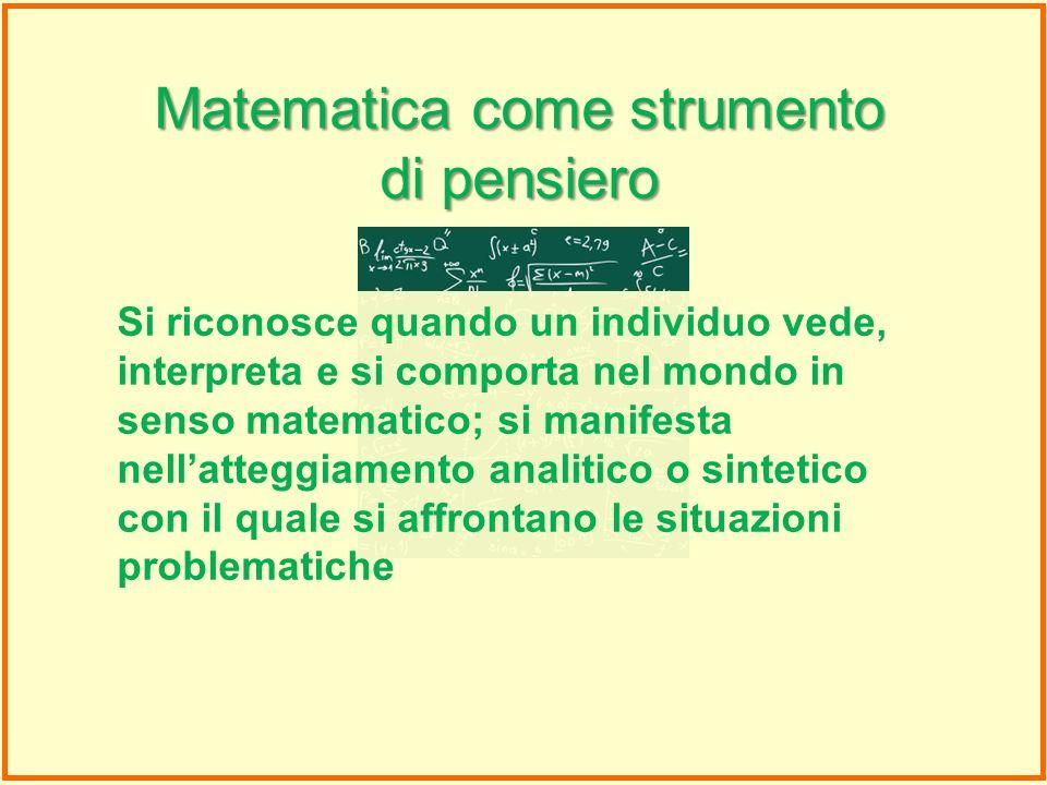 Si riconosce quando un individuo vede, interpreta e si comporta nel mondo in senso matematico; si manifesta nellatteggiamento analitico o sintetico co