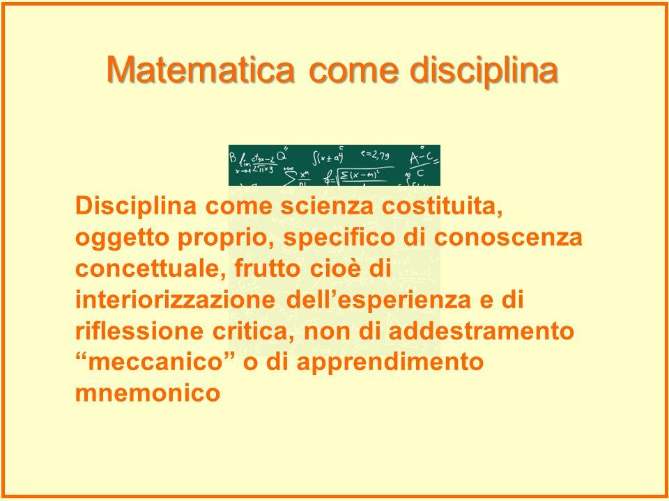 Disciplina come scienza costituita, oggetto proprio, specifico di conoscenza concettuale, frutto cioè di interiorizzazione dellesperienza e di rifless