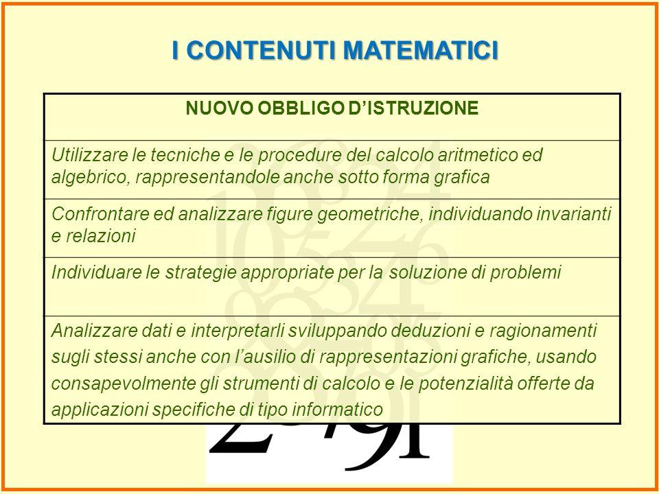 I CONTENUTI MATEMATICI NUOVO OBBLIGO DISTRUZIONE Utilizzare le tecniche e le procedure del calcolo aritmetico ed algebrico, rappresentandole anche sot