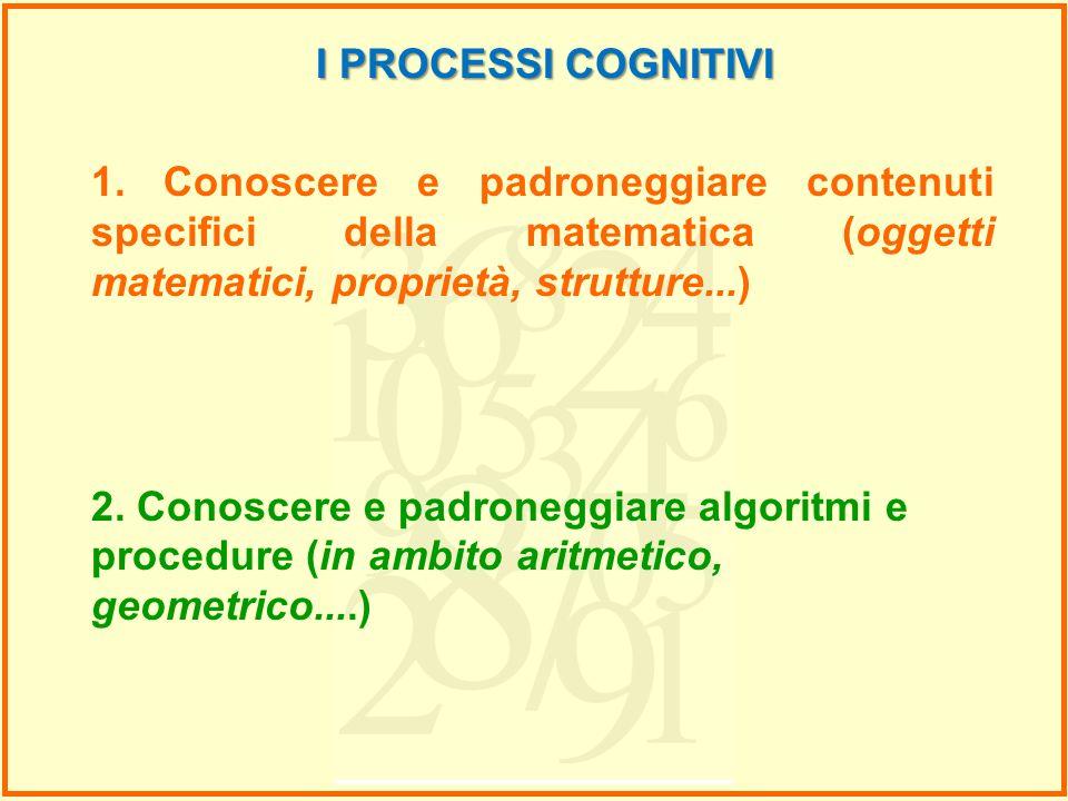 I PROCESSI COGNITIVI 1. Conoscere e padroneggiare contenuti specifici della matematica (oggetti matematici, proprietà, strutture...) 2. Conoscere e pa