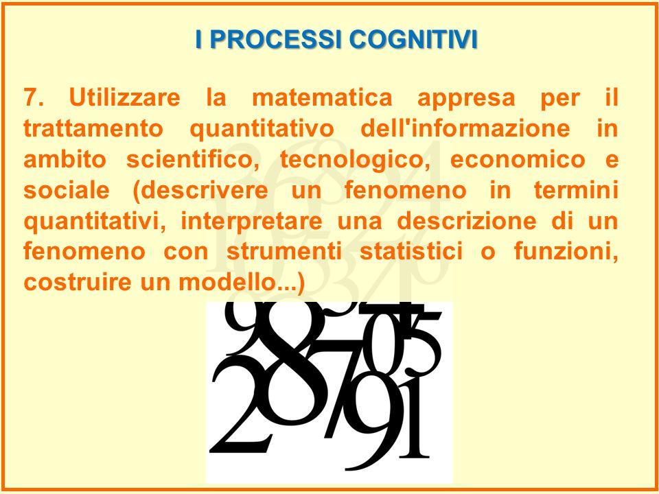 7. Utilizzare la matematica appresa per il trattamento quantitativo dell'informazione in ambito scientifico, tecnologico, economico e sociale (descriv