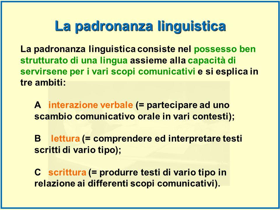 La padronanza linguistica consiste nel possesso ben strutturato di una lingua assieme alla capacità di servirsene per i vari scopi comunicativi e si e