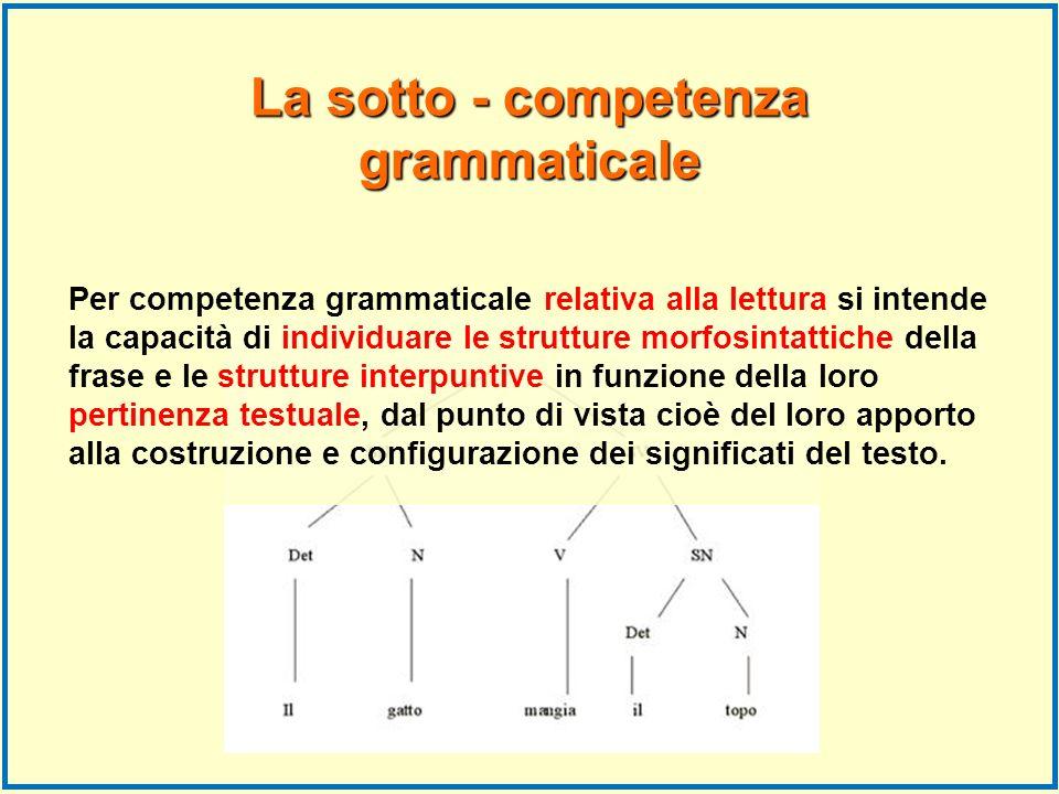 La sotto - competenza grammaticale Per competenza grammaticale relativa alla lettura si intende la capacità di individuare le strutture morfosintattic