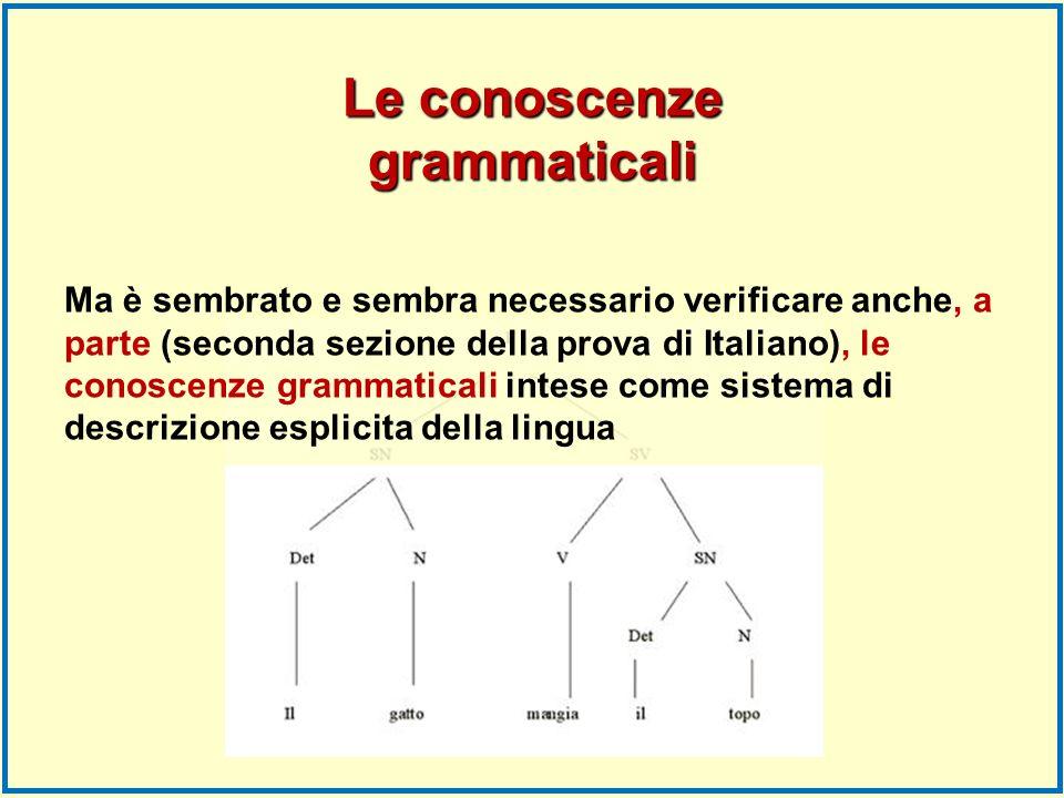 Le conoscenze grammaticali Ma è sembrato e sembra necessario verificare anche, a parte (seconda sezione della prova di Italiano), le conoscenze gramma