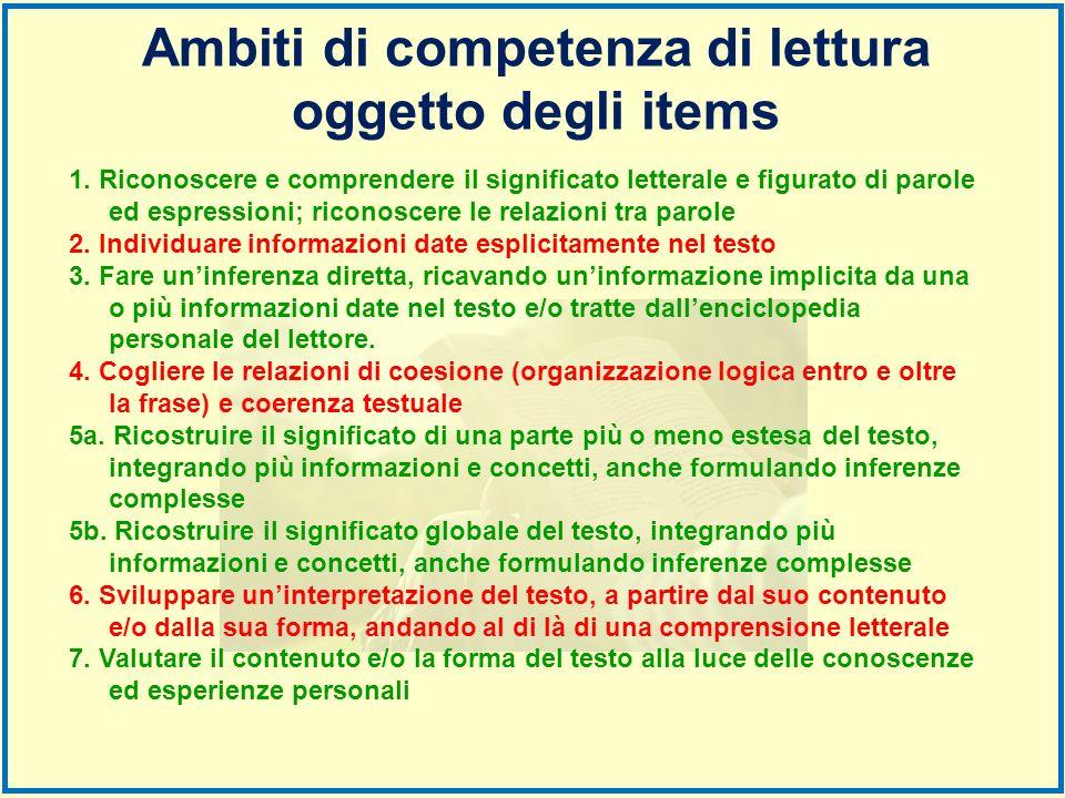 Ambiti di competenza di lettura oggetto degli items 1. Riconoscere e comprendere il significato letterale e figurato di parole ed espressioni; riconos