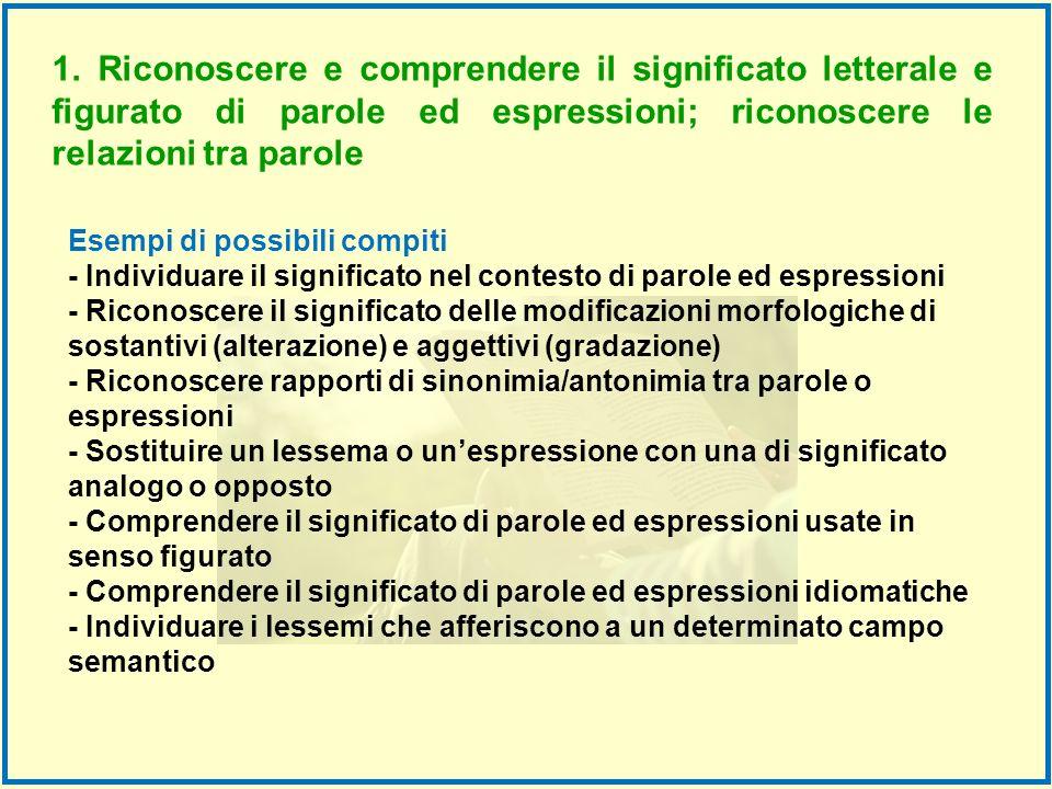Esempi di possibili compiti - Individuare il significato nel contesto di parole ed espressioni - Riconoscere il significato delle modificazioni morfol