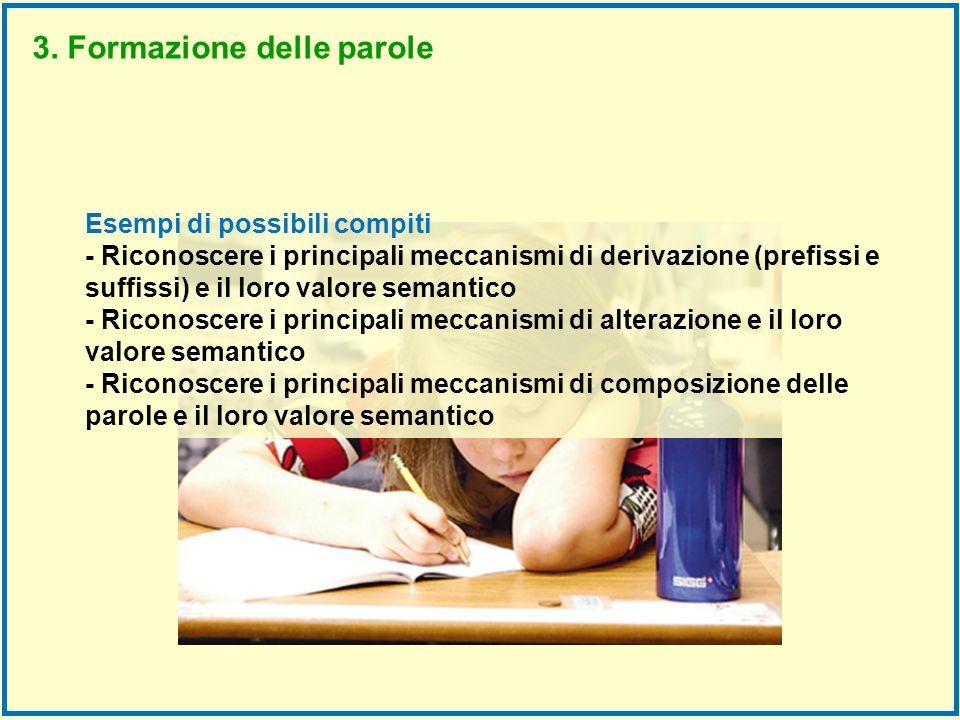 Esempi di possibili compiti - Riconoscere i principali meccanismi di derivazione (prefissi e suffissi) e il loro valore semantico - Riconoscere i prin