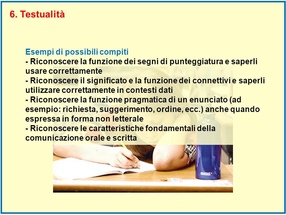 Esempi di possibili compiti - Riconoscere la funzione dei segni di punteggiatura e saperli usare correttamente - Riconoscere il significato e la funzi