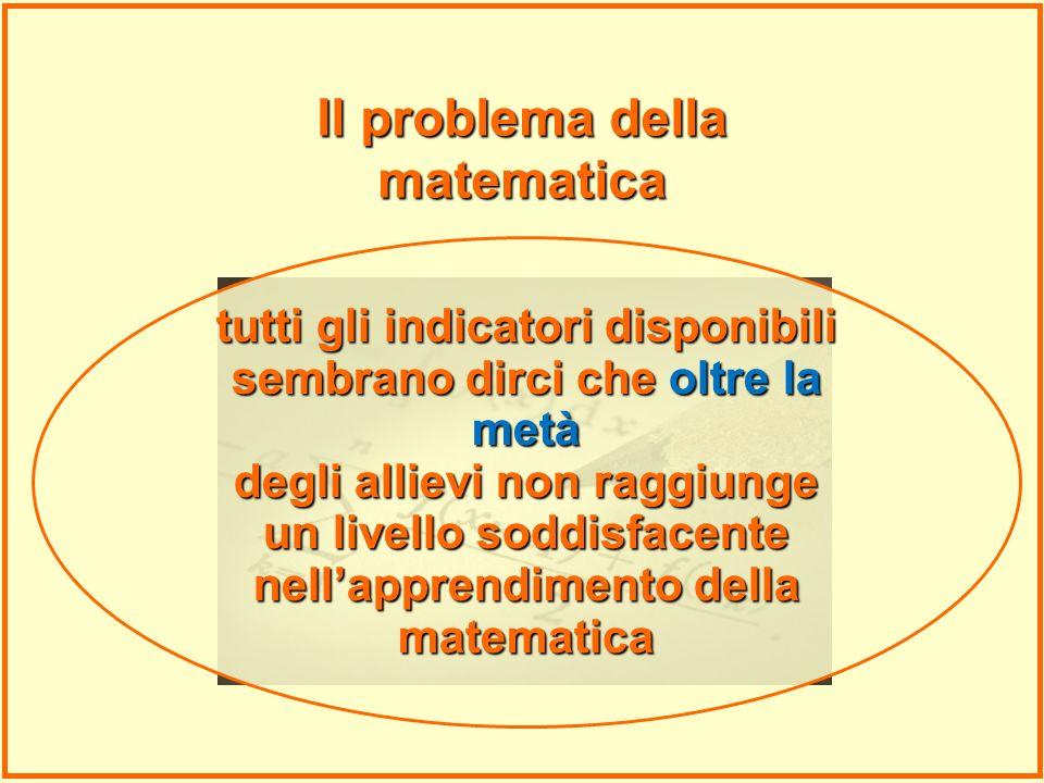 tutti gli indicatori disponibili sembrano dirci che oltre la metà degli allievi non raggiunge un livello soddisfacente nellapprendimento della matemat