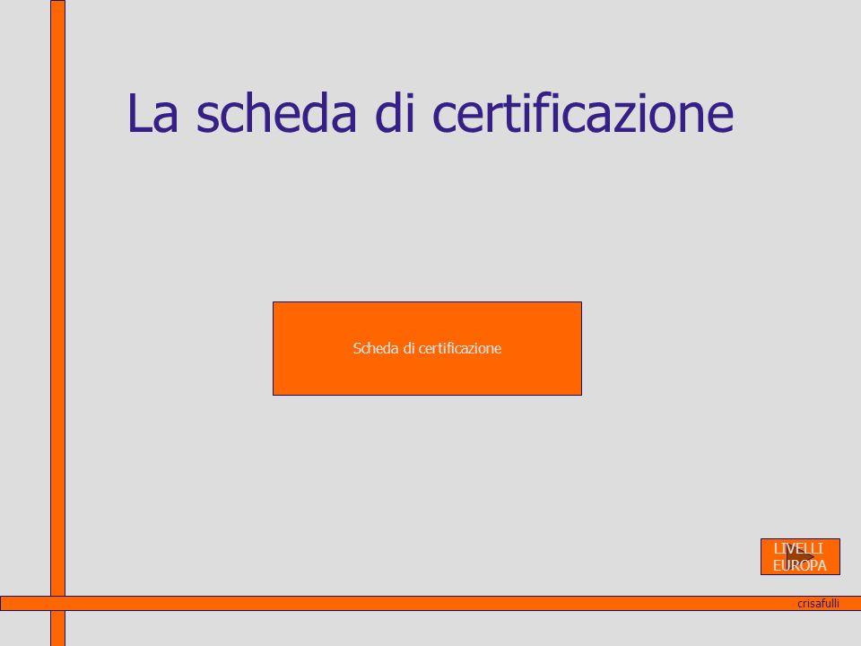 La scheda di certificazione Scheda di certificazione crisafulli LIVELLI EUROPA