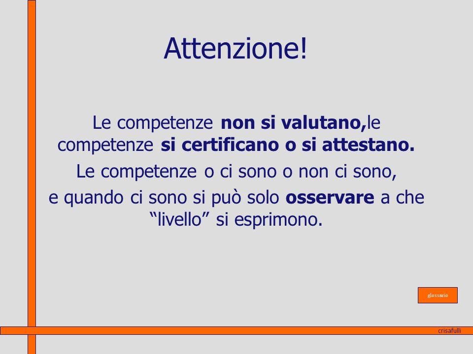 Attenzione! Le competenze non si valutano,le competenze si certificano o si attestano. Le competenze o ci sono o non ci sono, e quando ci sono si può