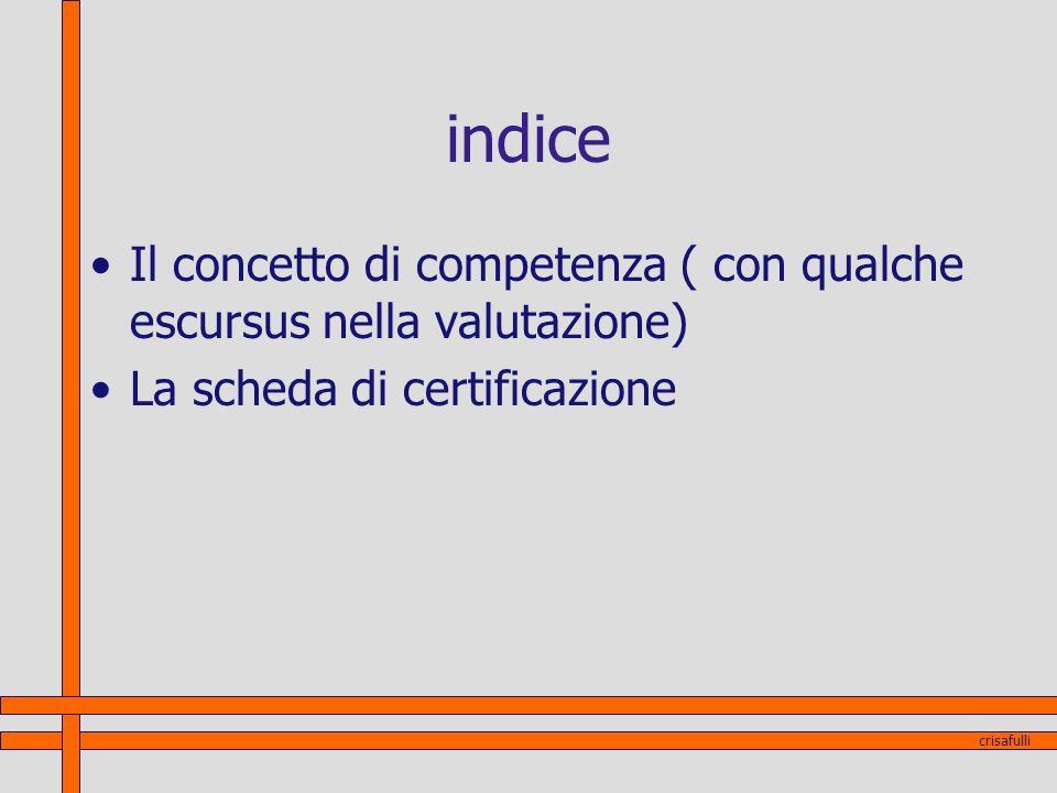 indice Il concetto di competenza ( con qualche escursus nella valutazione) La scheda di certificazione crisafulli