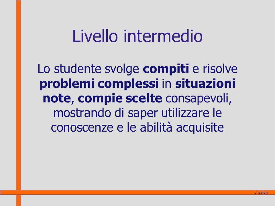 Livello intermedio Lo studente svolge compiti e risolve problemi complessi in situazioni note, compie scelte consapevoli, mostrando di saper utilizzar
