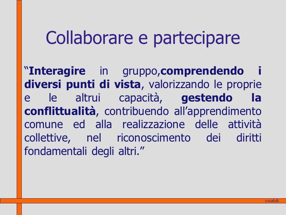 Collaborare e partecipare Interagire in gruppo,comprendendo i diversi punti di vista, valorizzando le proprie e le altrui capacità, gestendo la confli