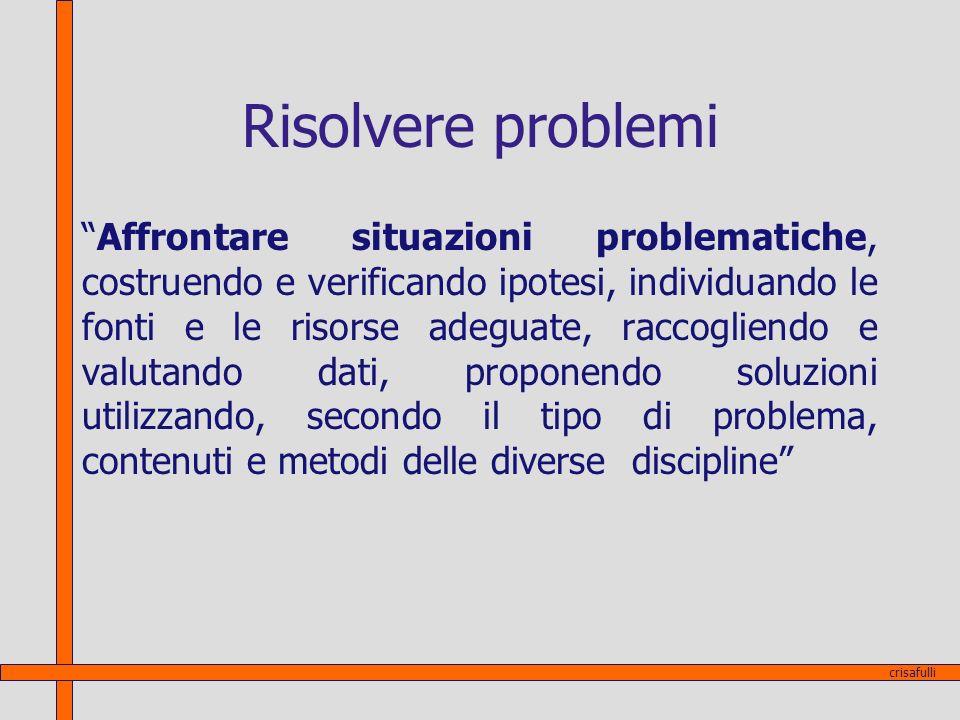 Risolvere problemi Affrontare situazioni problematiche, costruendo e verificando ipotesi, individuando le fonti e le risorse adeguate, raccogliendo e